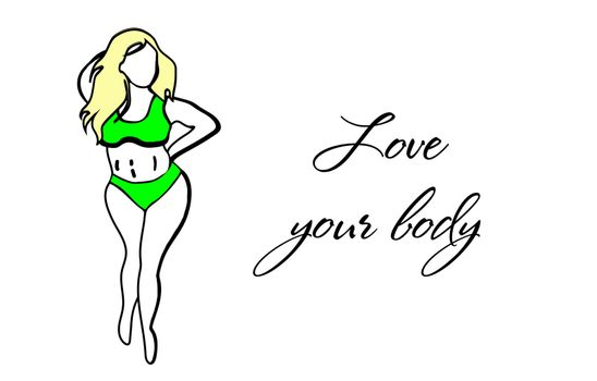 Love your body. Bodypositive concept. Accepting oneself. Fat woman in a swimsuit. Motivacin inscription.