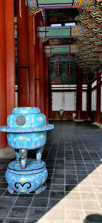Blue Objects in the Interiors of Royal palace, Gyeongbokgung, in Seoul, Korea