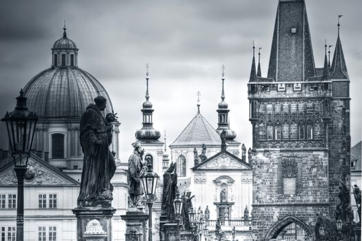 Charles Bridge and monuments in Prague.