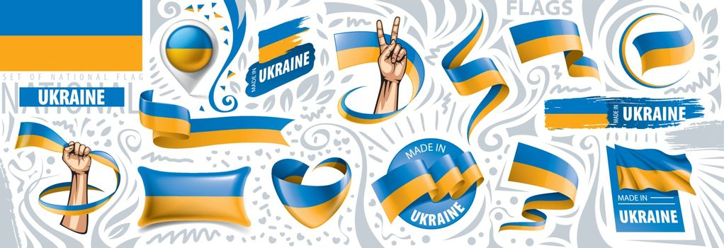 Vector set of the national flag of Ukraine in various creative designs.