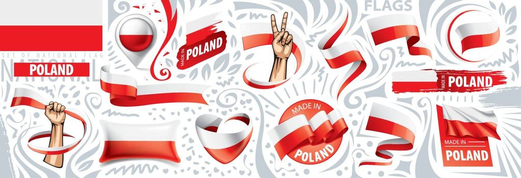 Vector set of the national flag of Poland in various creative designs.