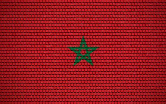 Abstract flag of Morocco made of circles. Moroccan flag designed with colored dots giving it a modern and futuristic abstract look.