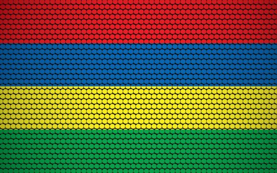Abstract flag of Mauritius made of circles. Mauritian flag designed with colored dots giving it a modern and futuristic abstract look.