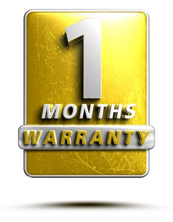 Warranty label 3D illustration 1 months Gold Color Numbers in stainless steel Isolated on a white background. (With Clipping Path).