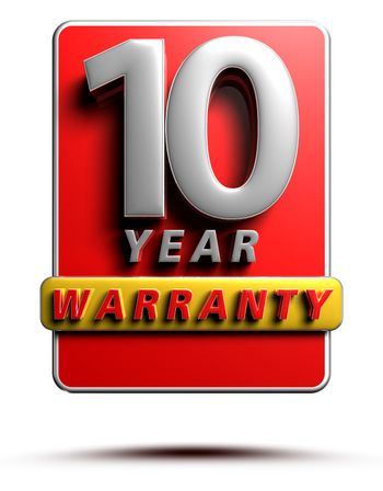 Warranty label 3D illustration 10 years Red Color Numbers in stainless steel Isolated on a white background. (With Clipping Path).