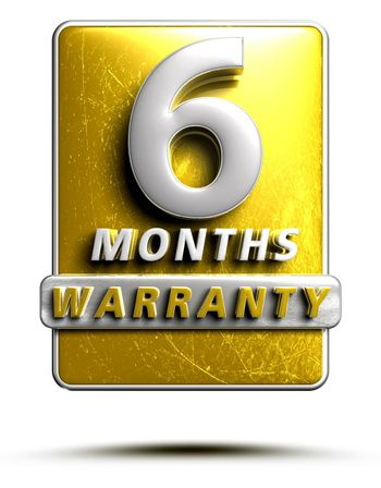 Warranty label 3D illustration 6 months Gold Color Numbers in stainless steel Isolated on a white background. (With Clipping Path).
