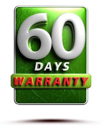 Warranty label 3D illustration 60 days green Color Numbers in stainless steel Isolated on a white background. (With Clipping Path).
