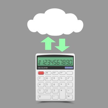 Finance info exchange through cloud service on gray background. Business clouds wireless network communication. Calculator count icon