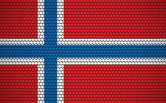 Abstract flag of Norway made of circles. Norwegian flag designed with colored dots giving it a modern and futuristic abstract look.