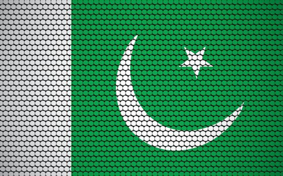 Abstract flag of Pakistan made of circles. Pakistani flag designed with colored dots giving it a modern and futuristic abstract look.