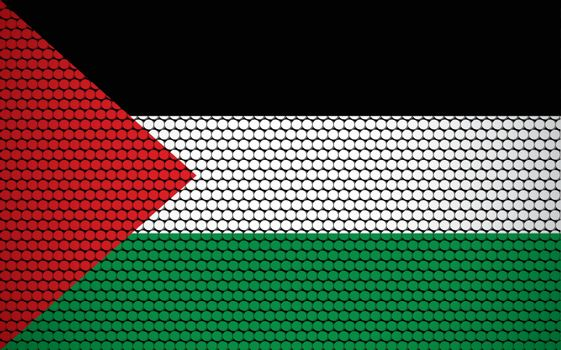 Abstract flag of Palestine made of circles. Palestinian flag designed with colored dots giving it a modern and futuristic abstract look.