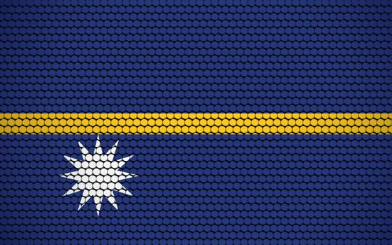 Abstract flag of Nauru made of circles. Nauruan flag designed with colored dots giving it a modern and futuristic abstract look.