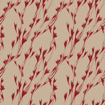 beautiful elegant spring seamless pattern with small abstract red flowers