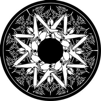 abstract gothic print illustration with occult octagonal star in the black circle