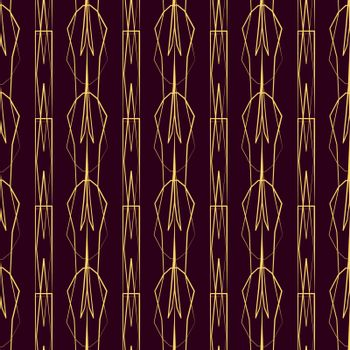 elegant geometric golden seamless pattern on red background in art deco style