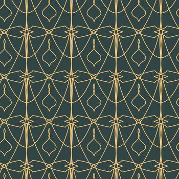 elegant geometric golden seamless pattern on grey background in art deco style