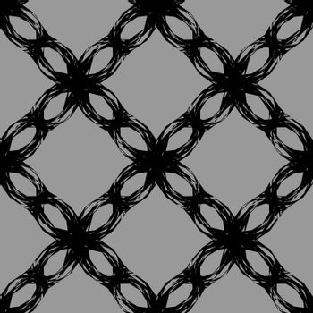 monochrome seamless pattern with black abctract lace grid on grey background