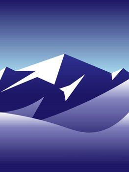beautiful winter landscape vector illustration of arctic snowy mountains peak