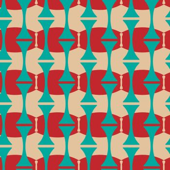 cute and funny colorful seamless pattern with blue and red shapes in 60s' style