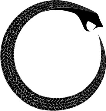 ancient occult and alchemical symbol coiled snake eating tail ouroboros