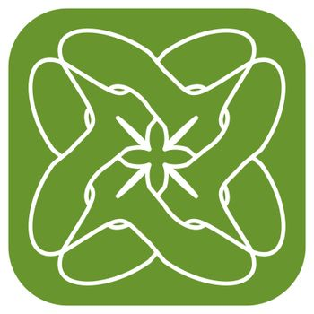 simple green outline floral icon or logo with entwined circle