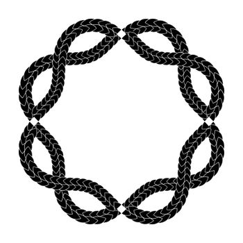 abstract occult gothic circle frame, print or tattoo design with entwined snakes skin