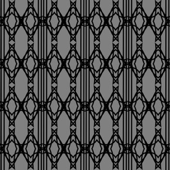 abstract onochrome seamless pattern with black linear rhombus on grey background
