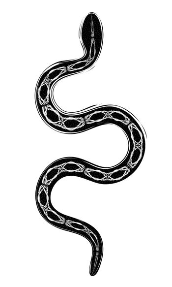 abstract gothic occult print or tattoo illustration of black snake
