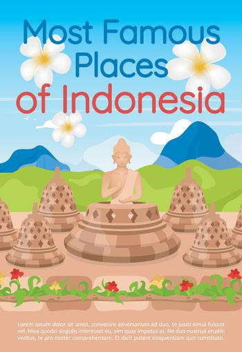 Most famous places of Indonesia brochure template