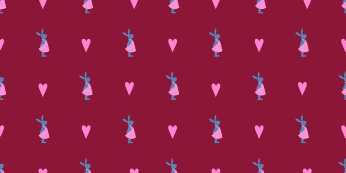 Easter seamless pattern. bunny rabbit. Happy easter. Cute spring illustration.