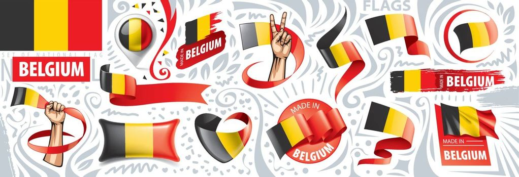 Vector set of the national flag of Belgium in various creative designs.