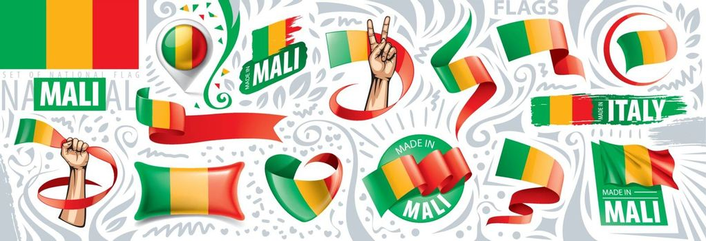 Vector set of the national flag of Mali in various creative designs.