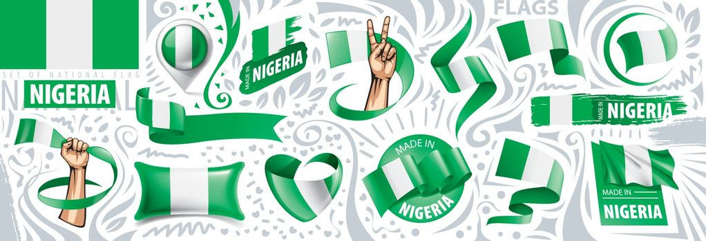 Vector set of the national flag of Nigeria in various creative designs.