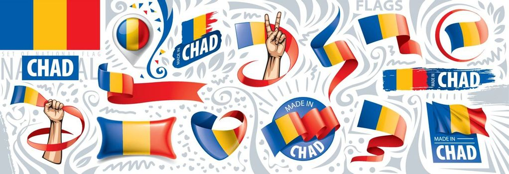Vector set of the national flag of Chad in various creative designs.