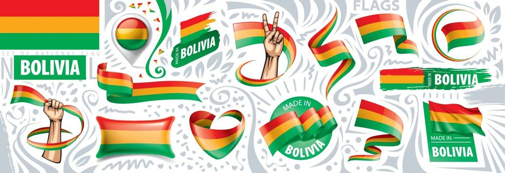 Vector set of the national flag of Bolivia in various creative designs.
