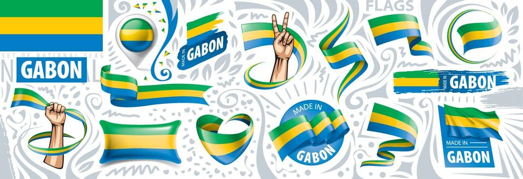 Vector set of the national flag of Gabon in various creative designs.