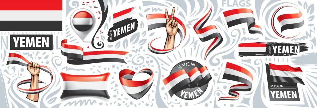 Vector set of the national flag of Yemen in various creative designs.