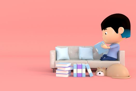 3d illustrator cartoon characters. A girl sitting on the sofa reading