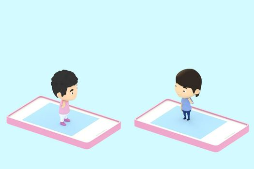 3d illustrator of cartoon characters. Boy and girl Meet and greet each other from mobile