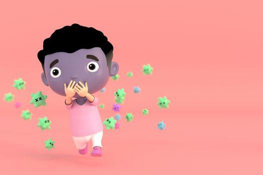 3d illustrator of cartoon characters. Men are afraid of viruses.