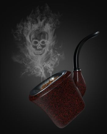 Skull shaped smoke comes out of the vintage pipe on black background. It means that cigarettes can kill you to death. The concept of anti-tobacco and world no tobacco day. 3D illustrator rendering.