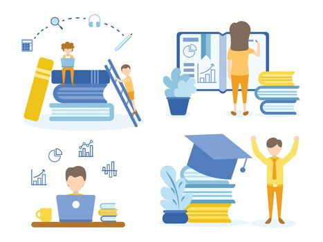 Student doing homework and learning online courses. Men happy with graduation. Concept Illustration of education for training, studying, e-learning, and online course.