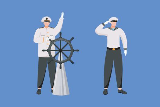 Maritime professions flat vector illustration