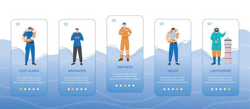Maritime professions onboarding mobile app screen vector template