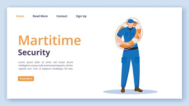 Maritime security landing page vector template