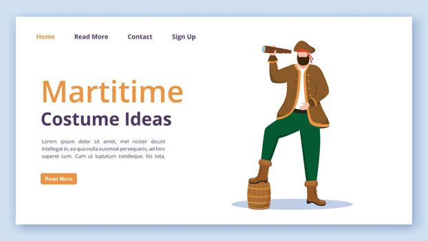 Maritime costume ideas landing page vector template