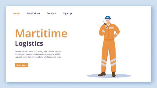 Maritime logistics landing page vector template