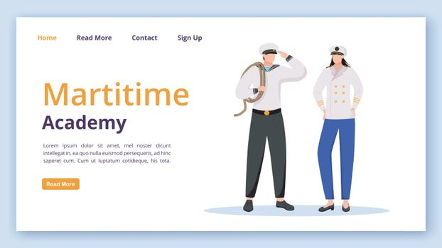Maritime academy landing page vector template