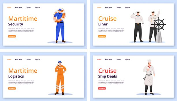 Maritime characters landing page vector templates set