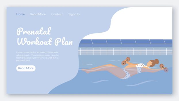 Prenatal workout plan landing page vector template